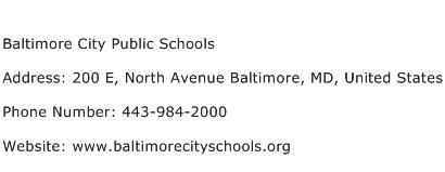 Baltimore City Public Schools Address Contact Number
