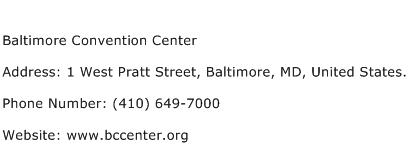 Baltimore Convention Center Address Contact Number