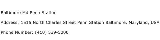 Baltimore Md Penn Station Address Contact Number
