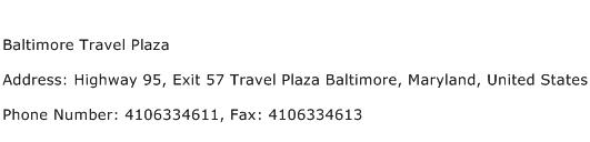 Baltimore Travel Plaza Address Contact Number