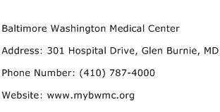 Baltimore Washington Medical Center Address Contact Number