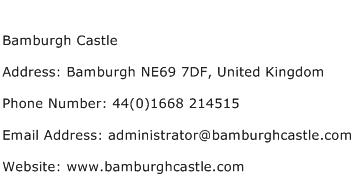 Bamburgh Castle Address Contact Number