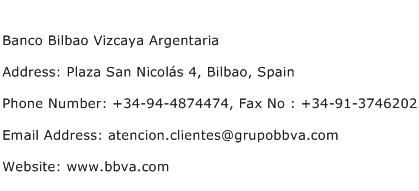 Banco Bilbao Vizcaya Argentaria Address Contact Number
