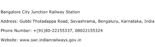 Bangalore City Junction Railway Station Address Contact Number