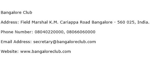 Bangalore Club Address Contact Number
