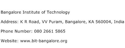 Bangalore Institute of Technology Address Contact Number
