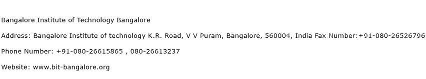 Bangalore Institute of Technology Bangalore Address Contact Number