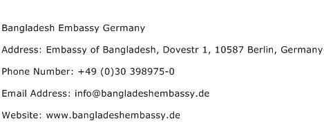 Bangladesh Embassy Germany Address Contact Number