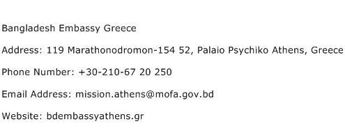 Bangladesh Embassy Greece Address Contact Number