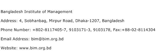 Bangladesh Institute of Management Address Contact Number