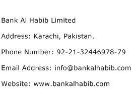 Bank Al Habib Limited Address Contact Number