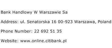 Bank Handlowy W Warszawie Sa Address Contact Number