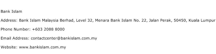 Bank Islam Address Contact Number