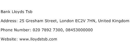 Bank Lloyds Tsb Address Contact Number