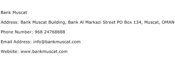 Bank Muscat Address Contact Number