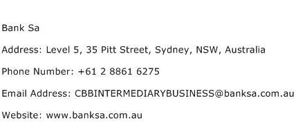 Bank Sa Address Contact Number