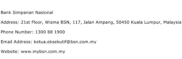 Bank Simpanan Nasional Address Contact Number