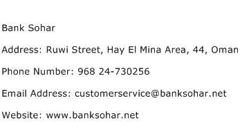 Bank Sohar Address Contact Number