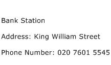 Bank Station Address Contact Number