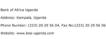 Bank of Africa Uganda Address Contact Number