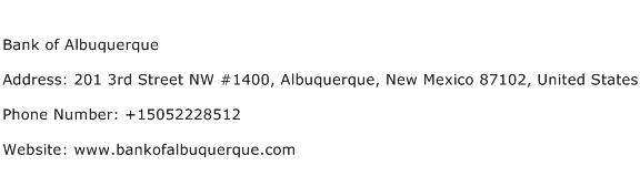 Bank of Albuquerque Address Contact Number