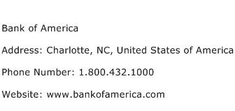 Bank of America Address Contact Number