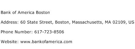 Bank of America Boston Address Contact Number