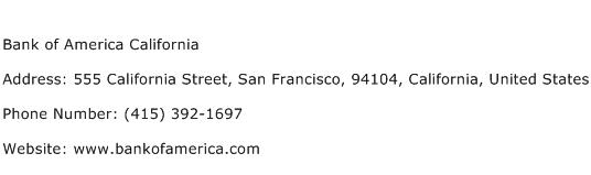 Bank of America California Address Contact Number