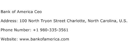 Bank of America Ceo Address Contact Number