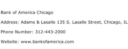 Bank of America Chicago Address Contact Number