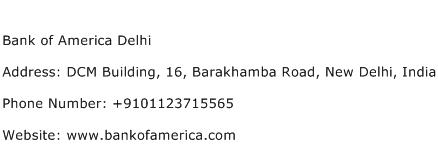 Bank of America Delhi Address Contact Number