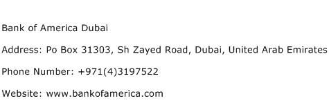 Bank of America Dubai Address Contact Number