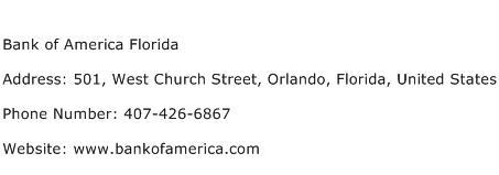 Bank of America Florida Address Contact Number