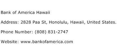 Bank of America Hawaii Address Contact Number
