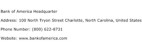 Bank of America Headquarter Address Contact Number