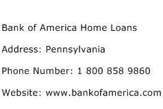 Bank of America Home Loans Address Contact Number