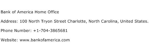 Bank of America Home Office Address Contact Number