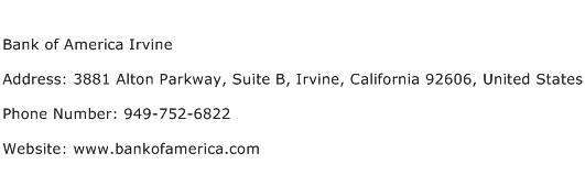Bank of America Irvine Address Contact Number