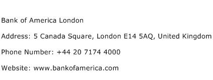 Bank of America London Address Contact Number
