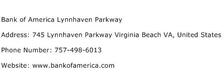 Bank of America Lynnhaven Parkway Address Contact Number