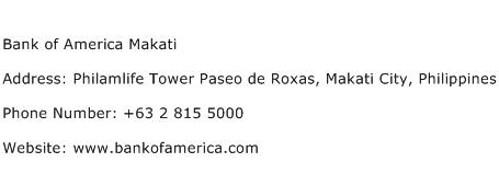 Bank of America Makati Address Contact Number