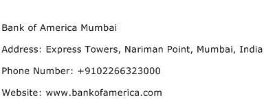 Bank of America Mumbai Address Contact Number