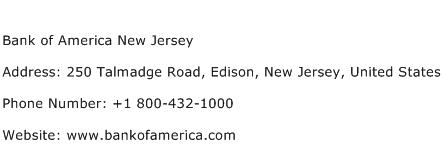 Bank of America New Jersey Address Contact Number