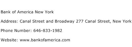 Bank of America New York Address Contact Number