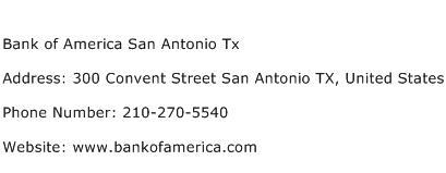 Bank of America San Antonio Tx Address Contact Number