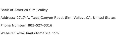 Bank of America Simi Valley Address Contact Number