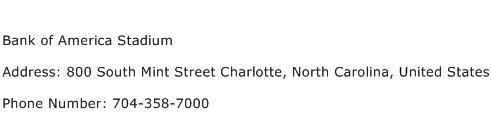 Bank of America Stadium Address Contact Number
