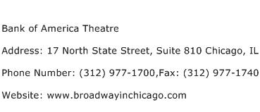 Bank of America Theatre Address Contact Number