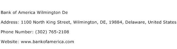 Bank of America Wilmington De Address Contact Number