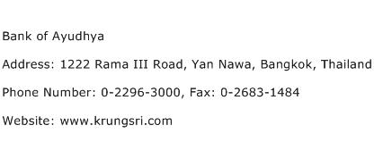 Bank of Ayudhya Address Contact Number